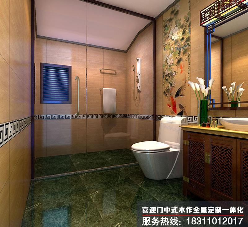 别墅中式卫生间设计效果图