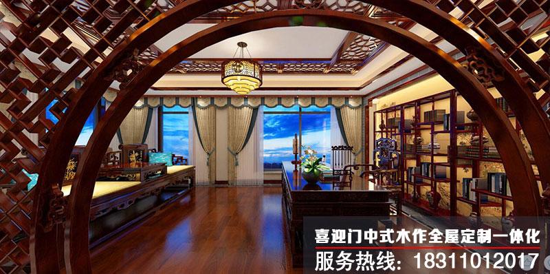 中式别墅书房设计效果图